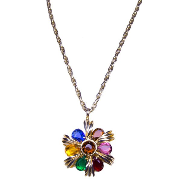 70's Multi Gem Cross Necklace