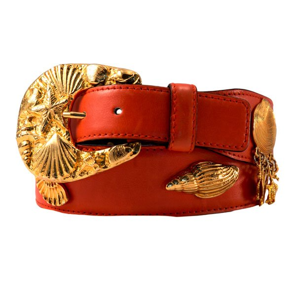 90's Coral Orange & Gold Escada Belt With Seashell Design