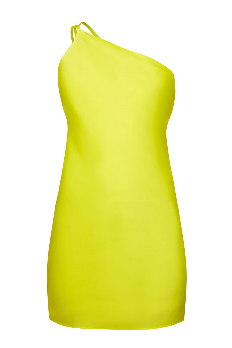 Lithium Yellow Asymmetric Mini Dress - Annie's Ibiza