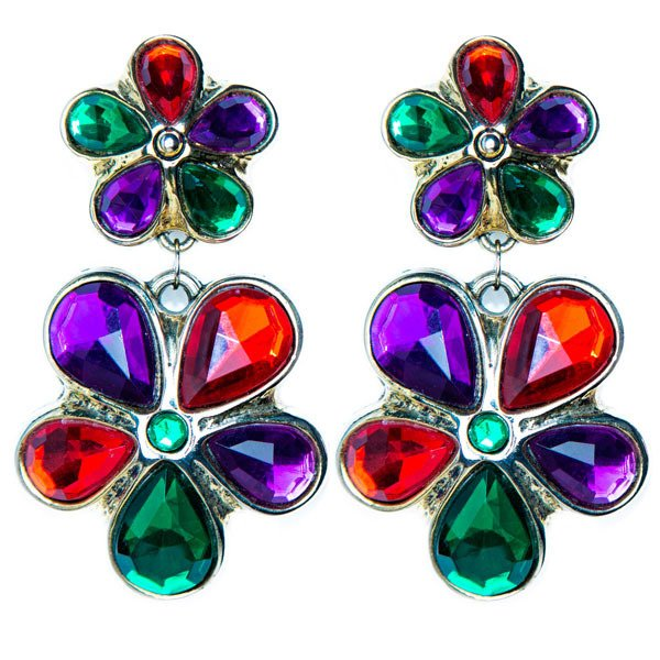 80's Oversized Gemstone Statement Earrings