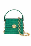 Jemima Green Croc Mini Trapeze Hand Bag