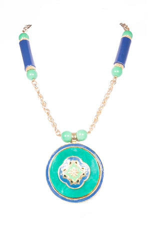 1970's Green and Blue Statement Pendant Necklace