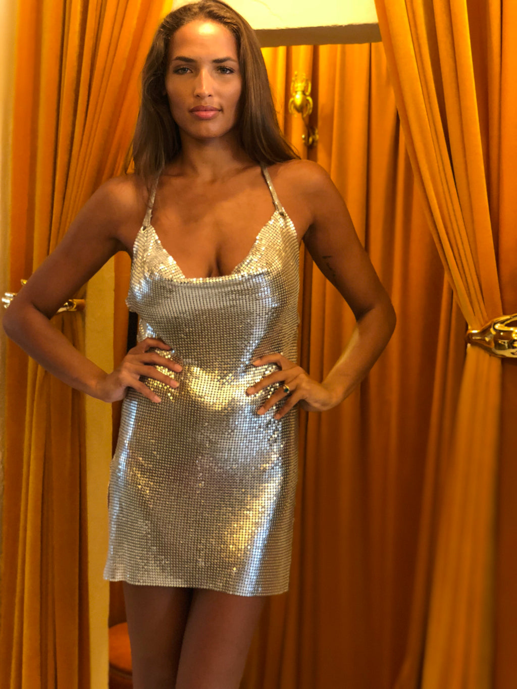 Silver Backless Chain Mail Dress