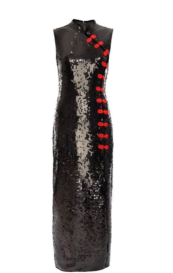 Jean Black Sequin Sleeveless Maxi Dress