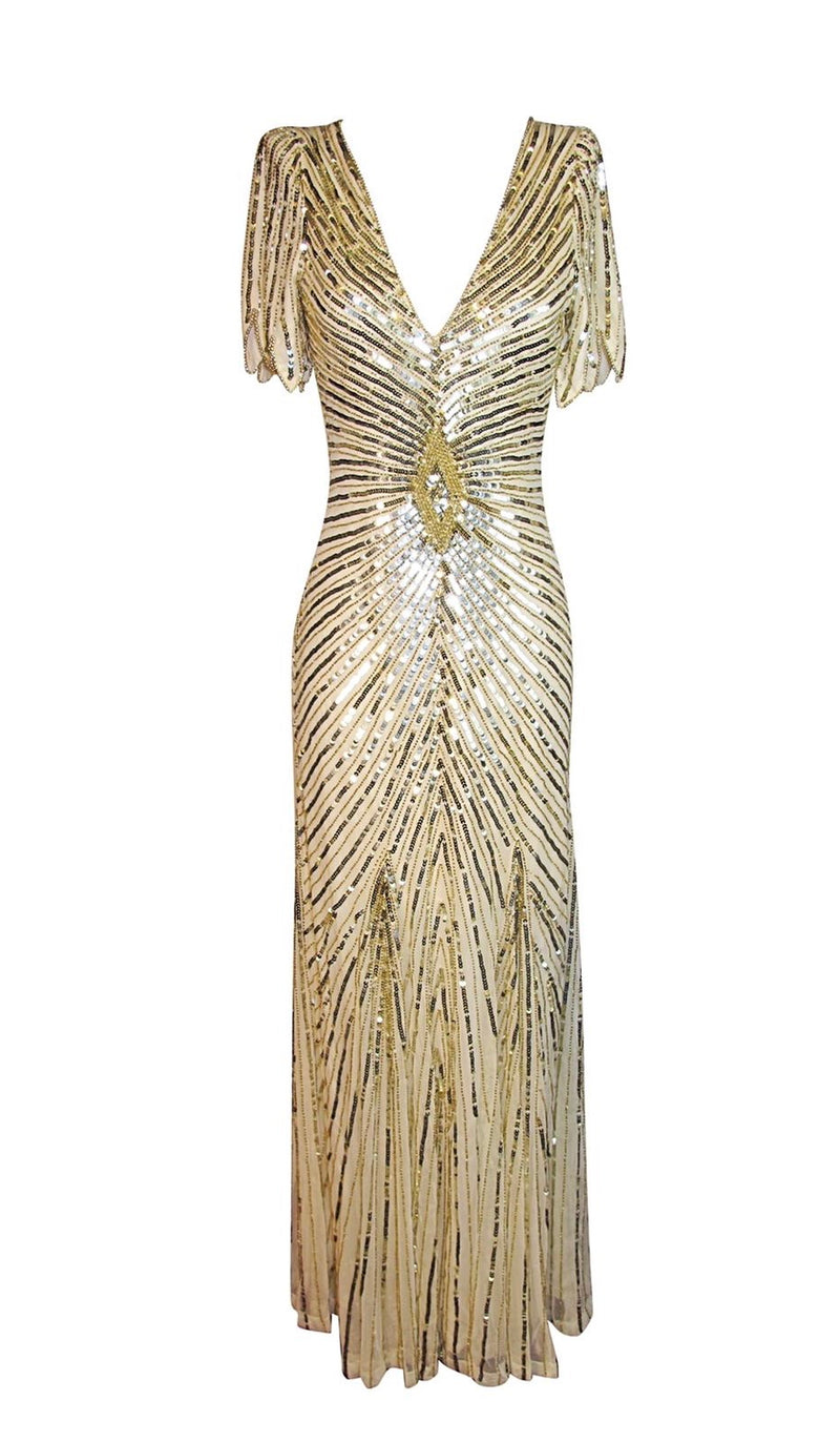 Embroidered Sequin Gold Dress - Annie's Ibiza