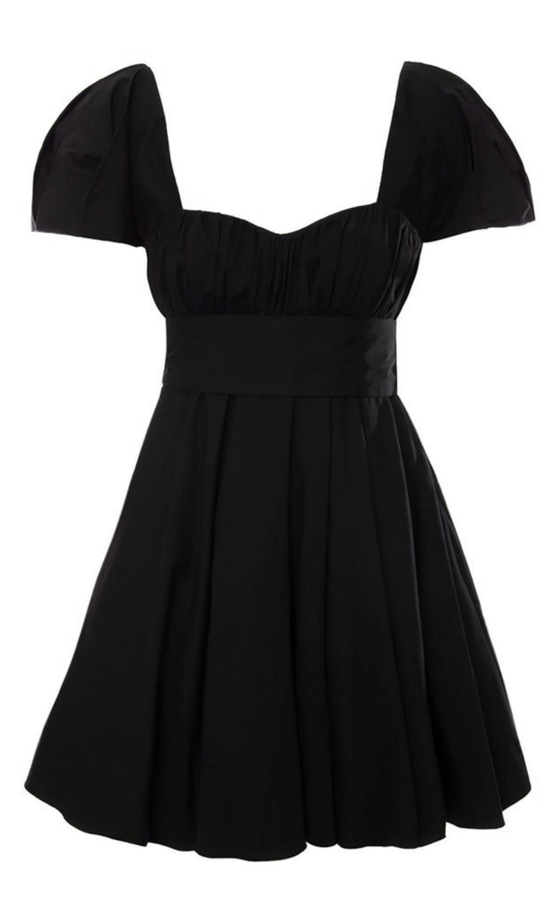 Dolores Black Cotton Mini Dress