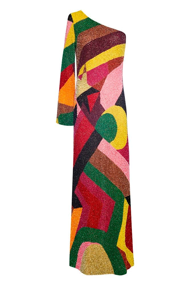 Sequin Long Asymmetric Abstract Dress - Annie's Ibiza