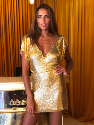 Gold Chain Wrap Dress - Annie's Ibiza