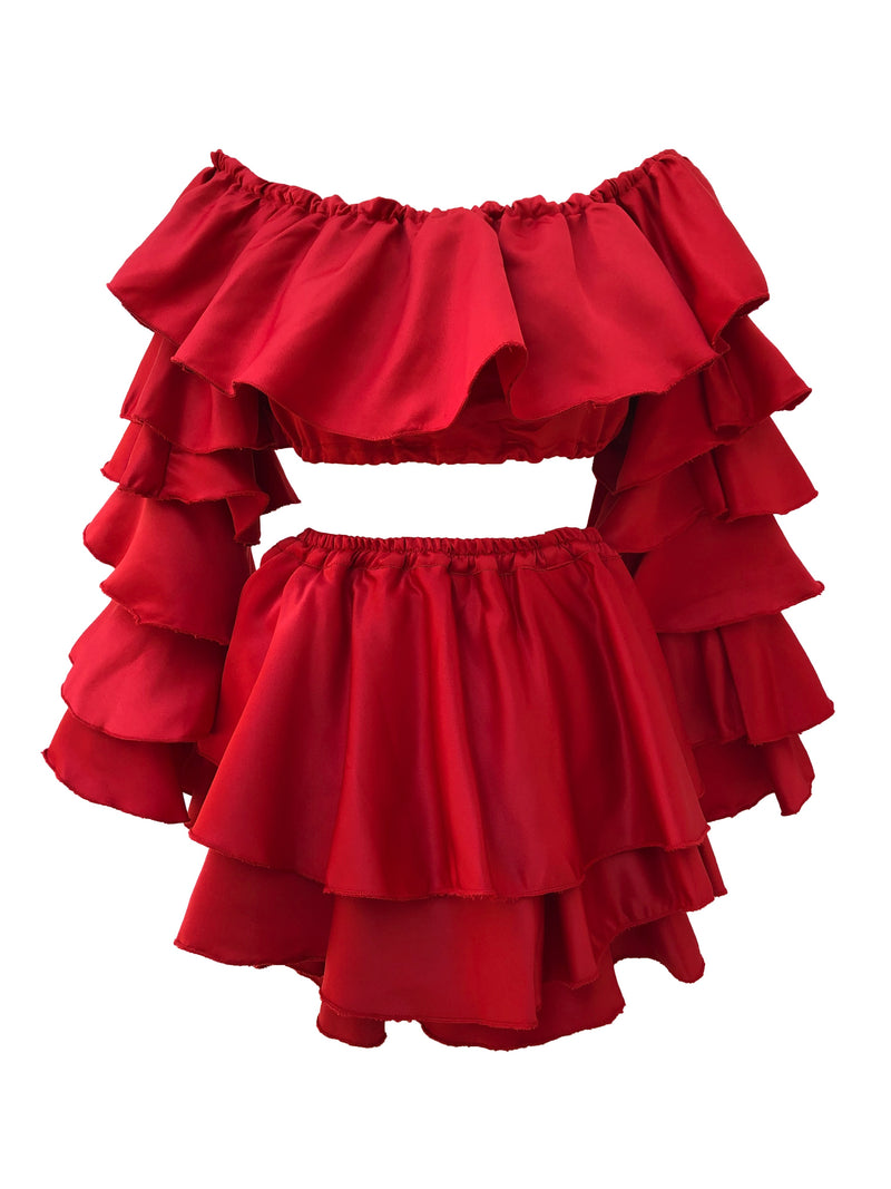 Red Ruffle Skort Set