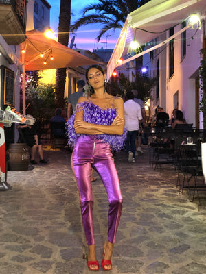 Purple Stripe feather Top - Annie's Ibiza