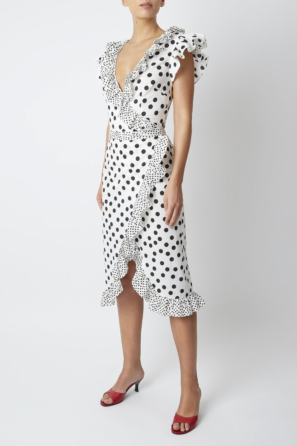 Cadaques Wrap Over Polka Dot Ruffle Midi Dress