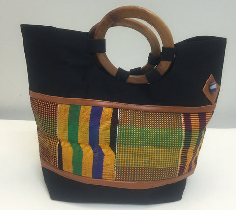 Kente Fabric Bag w/ Wooden Handles