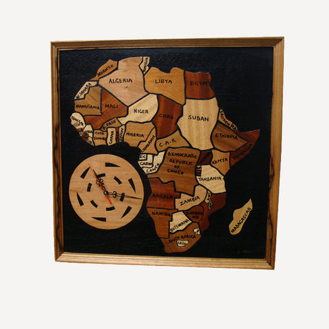 African Clock Map wood collage