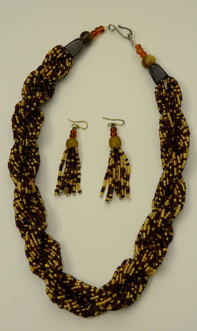 Ghana Krobo Mini Beads Necklace & Earrings Set