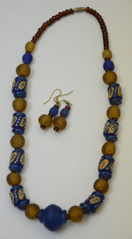 Ghana Afriko Beads Necklace & Earrings Set