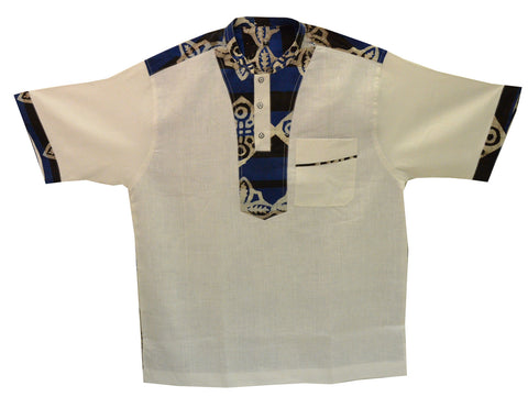 Ghana Men's Linen/Batik Dashiki II - XL