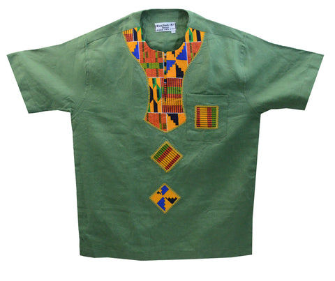 Ghana Men's Linen Dashiki IV - XL