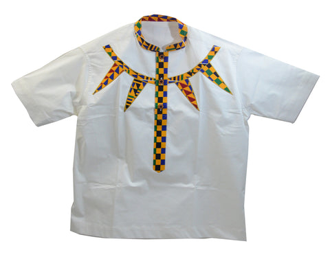 Ghana Men's Polished Cotton/Batik Dashiki - L