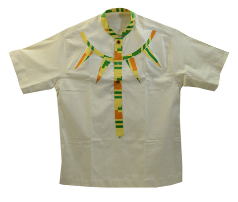 Ghana Men's Polished Cotton/Batik Trim Dashiki - XL