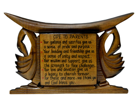 """Ode To Parents"" - Ashanti Stool Plaque"