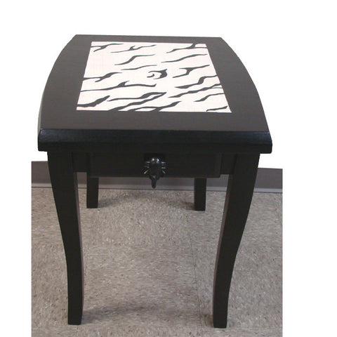 Hand-crafted Zebra End Table