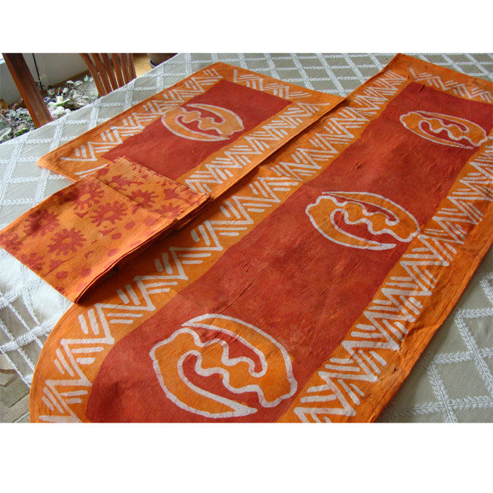 Merveilleux Batik Table Runner, Placemat, Napkin Set (of 6)