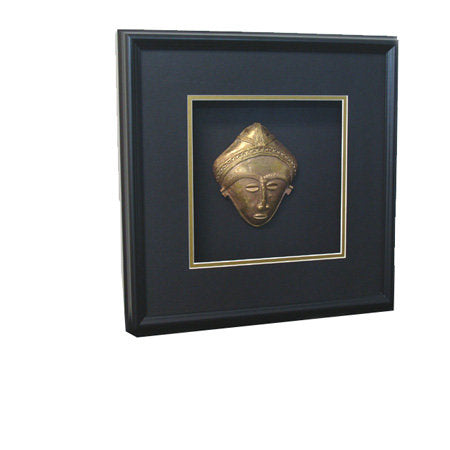 Ashanti Brass Mask in Shadow Box