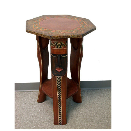 Handcrafted Octagon Mask Accent Table