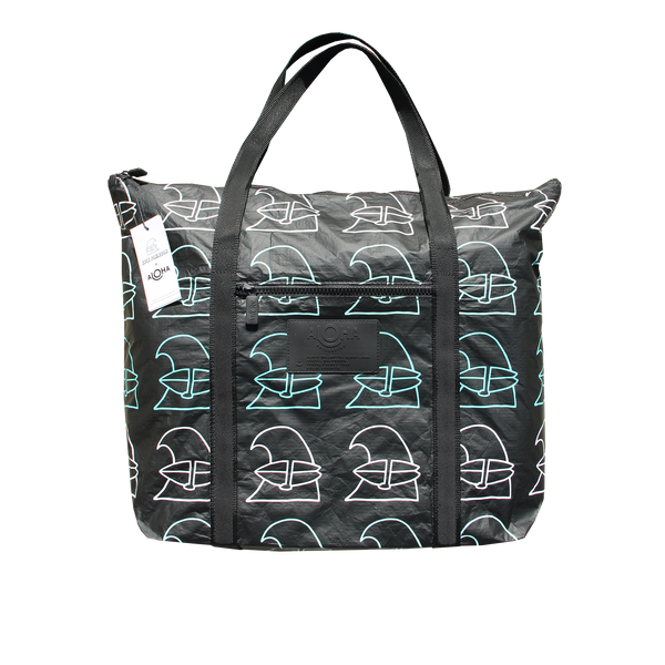 Surfing Wave Aloha Collection Zippered Black Tote Bag
