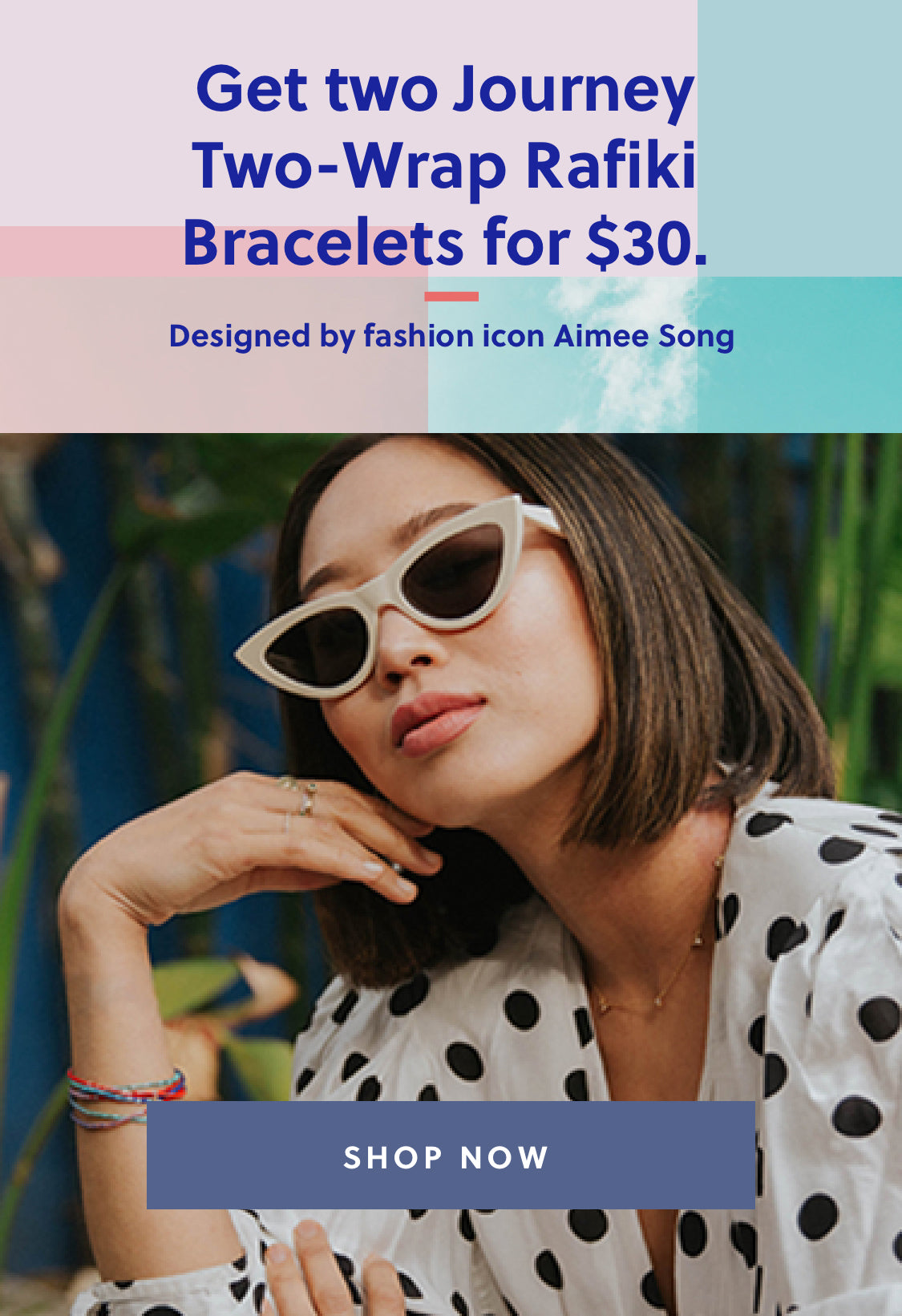 Get two Journey Two-wrap Rafiki Bracelets for $30. | Designed by fashion icon Aimee Song | Shop Now