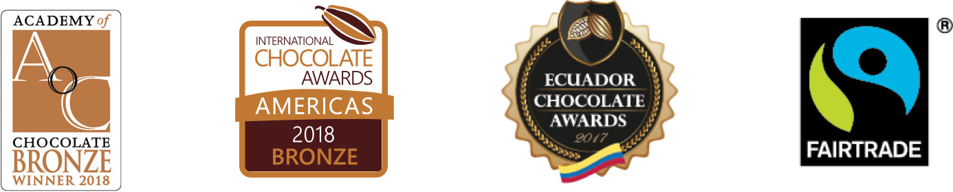 Academy of Chocolate Bronze winner 2018, Bronze Chocolate award 2018, Ecuador Chocolate award 2017, fairtrade award