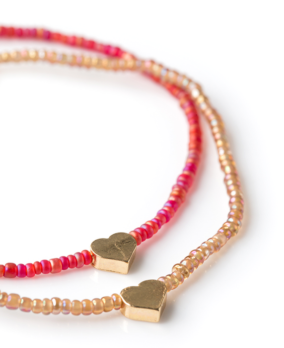 Share & Pair Rafiki Bracelet Set – Hearts