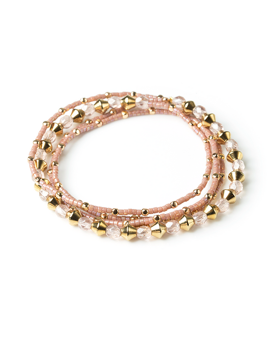 Four-Wrap Rafiki Bracelet - Blush