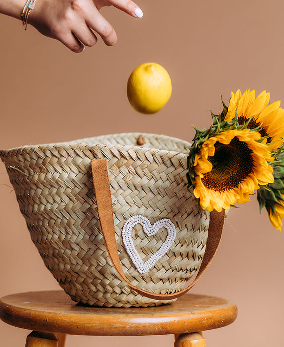 Palm Leaf Basket Bag - Heart