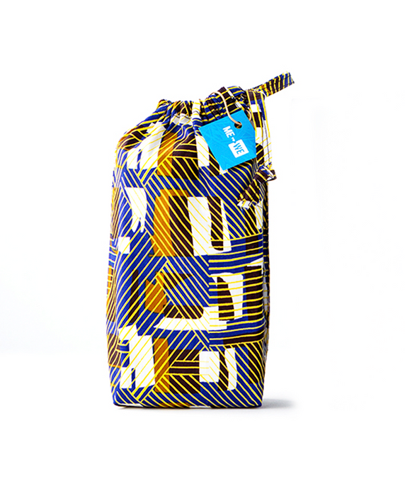Reusable Kitenge Gift Bag | Blue & Yellow