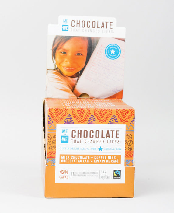 12 Pack - Milk + Coffee Nibs - ME to WE Chocolate That Changes Lives™