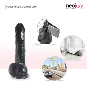 Neojoy Jelly-Soft Kristalldildo Schwarz - 20 cm Realistischer Dong mit Kugeln und Saugnapf - Girthy wasserdichter Masturbator für G-Punkt und Anale Stimulation - Adult Sex Toy - lucidtoys.de Not Classified