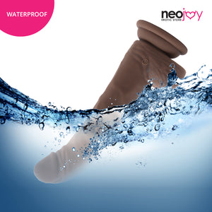 Neojoy Biggy Vibrating Rotating Silicone Dildo Brown with Powerful Suction Cup 18cm - 7 inch 151053+154125