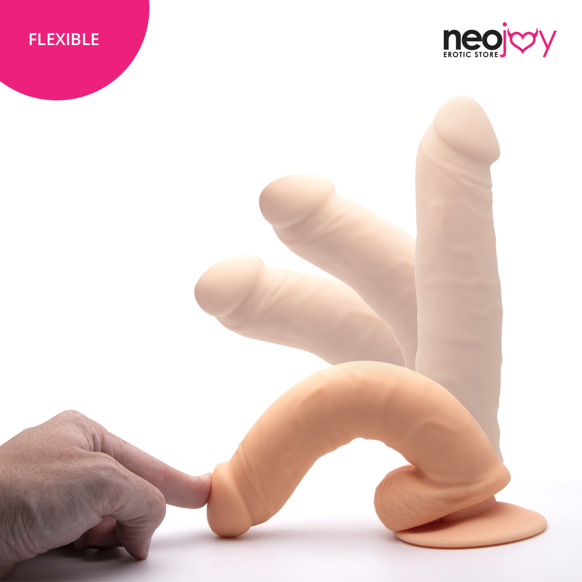 Neojoy Daydream Premium Silicone Realistic Dildo Flesh with Suction Cup 17.5cm - 6.8 inch 151056+154127