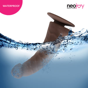 Neojoy Curved Charmer Silicone Stimulating Dildo Brown with Suction Cup 17cm - 6.6 inch 151059+154127