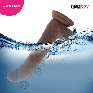 Neojoy Biggy Vibrating Rotating Silicone Dildo Brown with Powerful Suction Cup 18cm - 7 inch 151053+154127