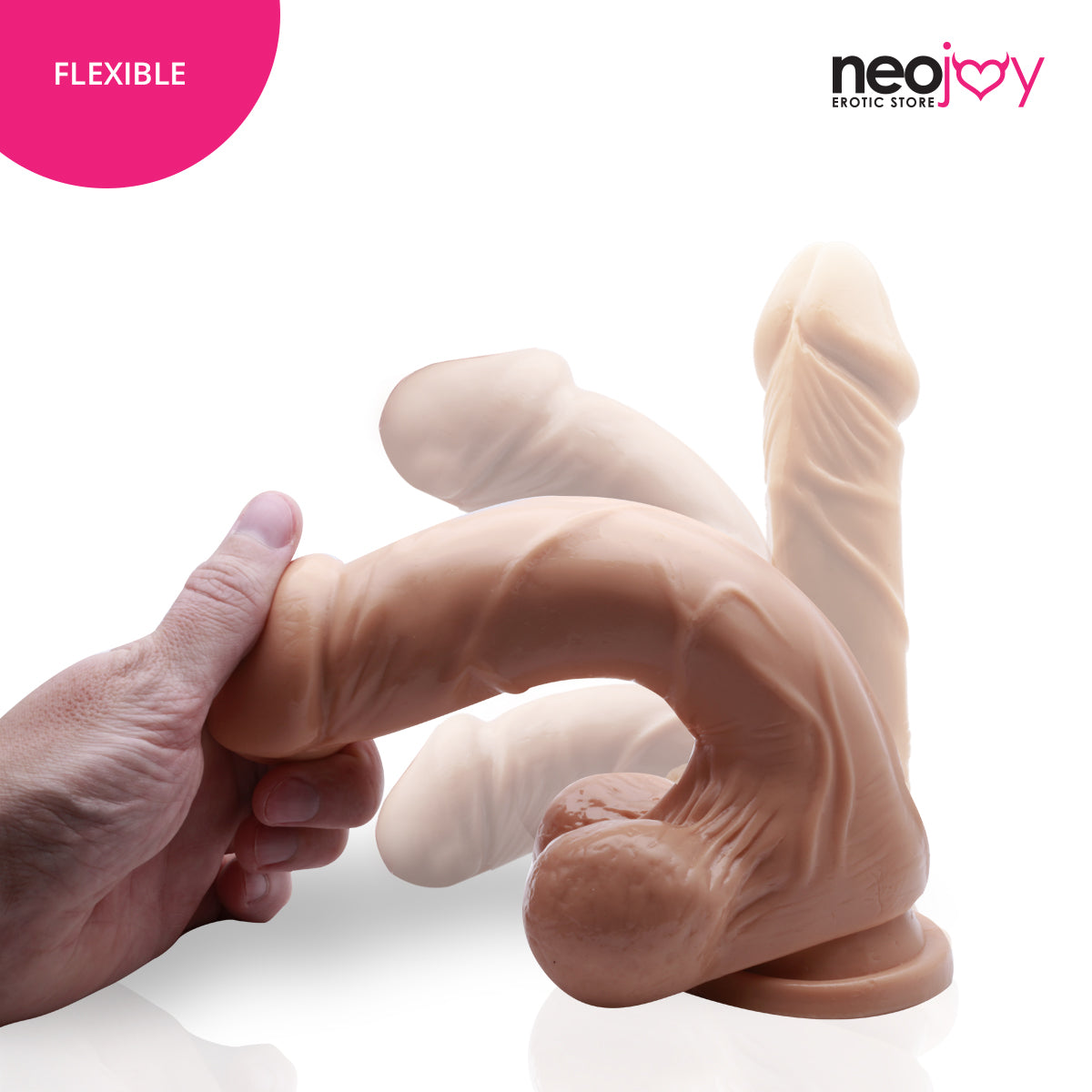 Neojoy Realistic Super Whopper Dong TPE Flesh with suction cup - Light Brown 9 inch - 23 cm 127944+154125