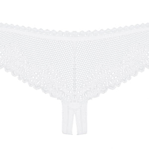 Obsessive - Sexy Lingerie - Alabastra Crotchless Thong - S/M - White