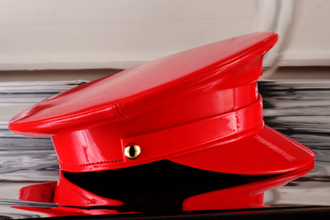 Red Patent Leather Cap
