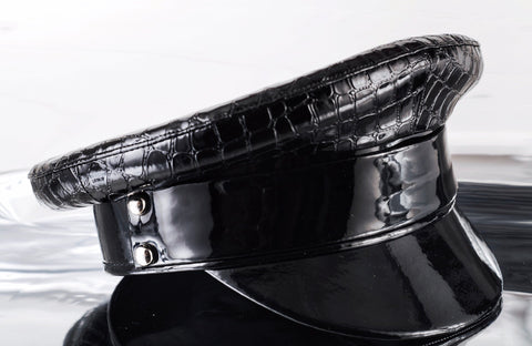 Black Leather Biker Cap With Patent Leather Trimming