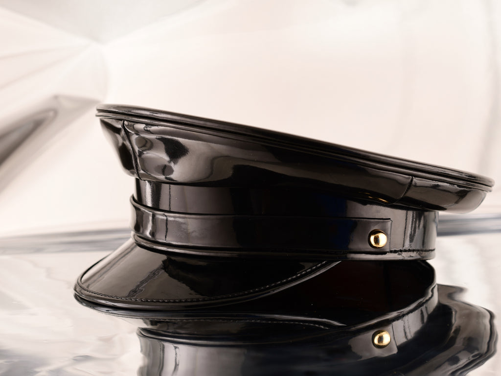 Black Patent Leather Biker Cap With Gold Buttons – The Afiya Collection 2d12ae67387e