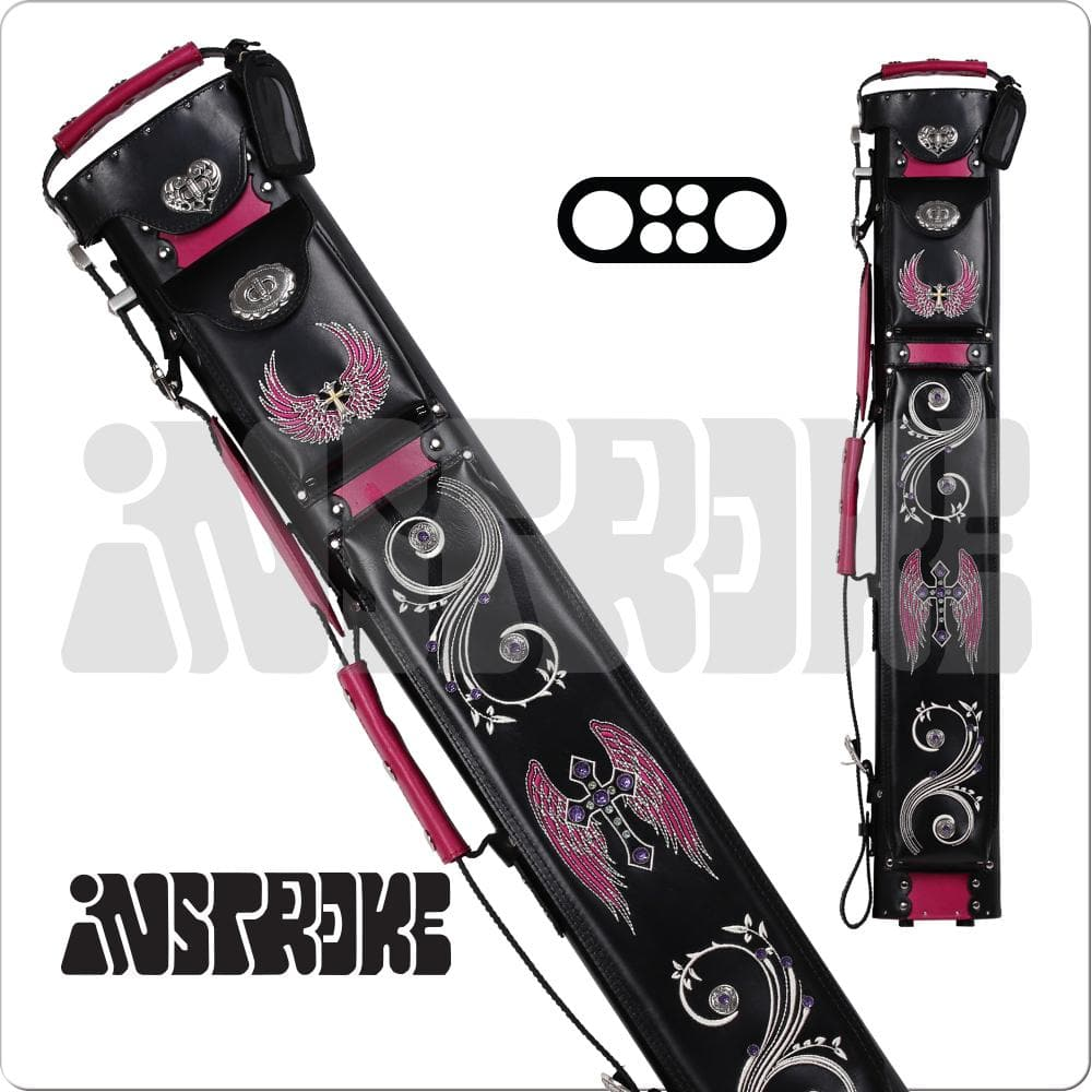 Instroke  2x4 Pool Cue Case Black /& Pink Leather w// FREE Shipping