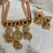 Load image into Gallery viewer, peach bead regal necklace set