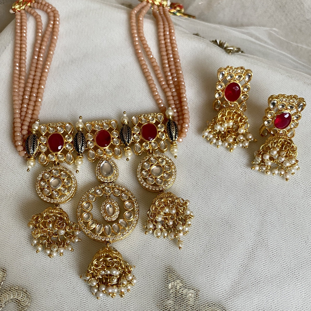 peach bead regal necklace set