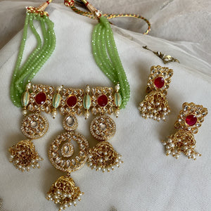 green bead regal necklace set